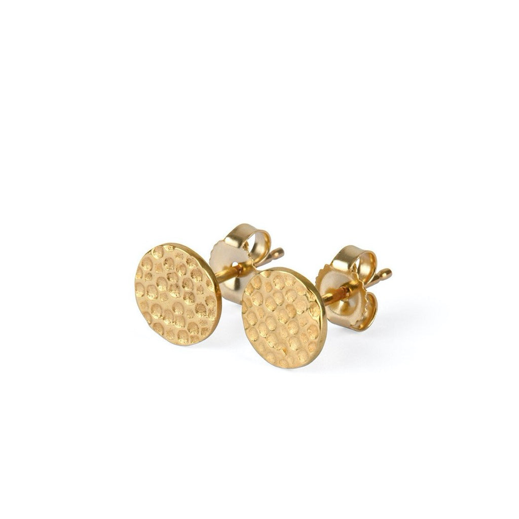 9kt Gold Hammered Disc Stud Earrings