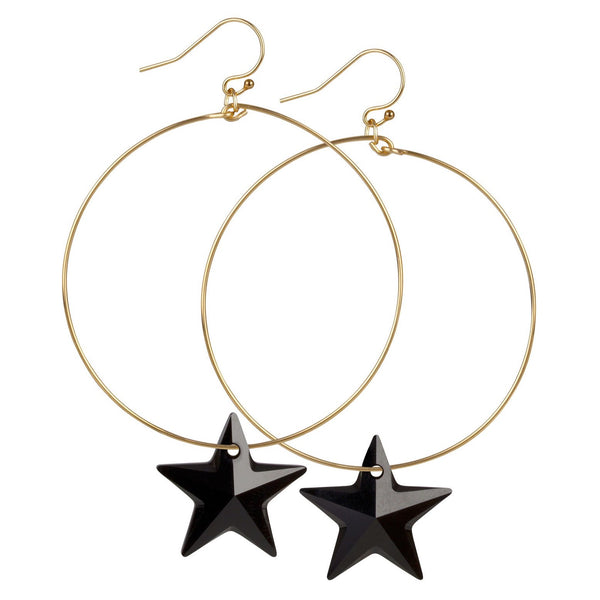 14kt Gold Filled Hoop Earrings Black Swarovski Star