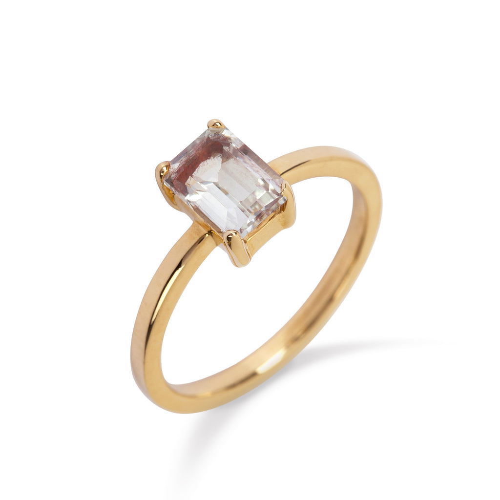9kt Gold Ring with White Topaz - MoMuse Jewellery
