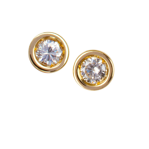 9kt Gold & Solitaire Diamond Stud Earrings