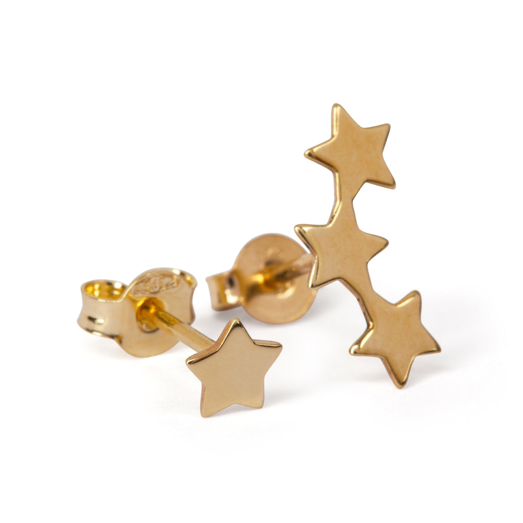 9kt Gold Three Star and Single Star Earrings - MoMuse Jewellery