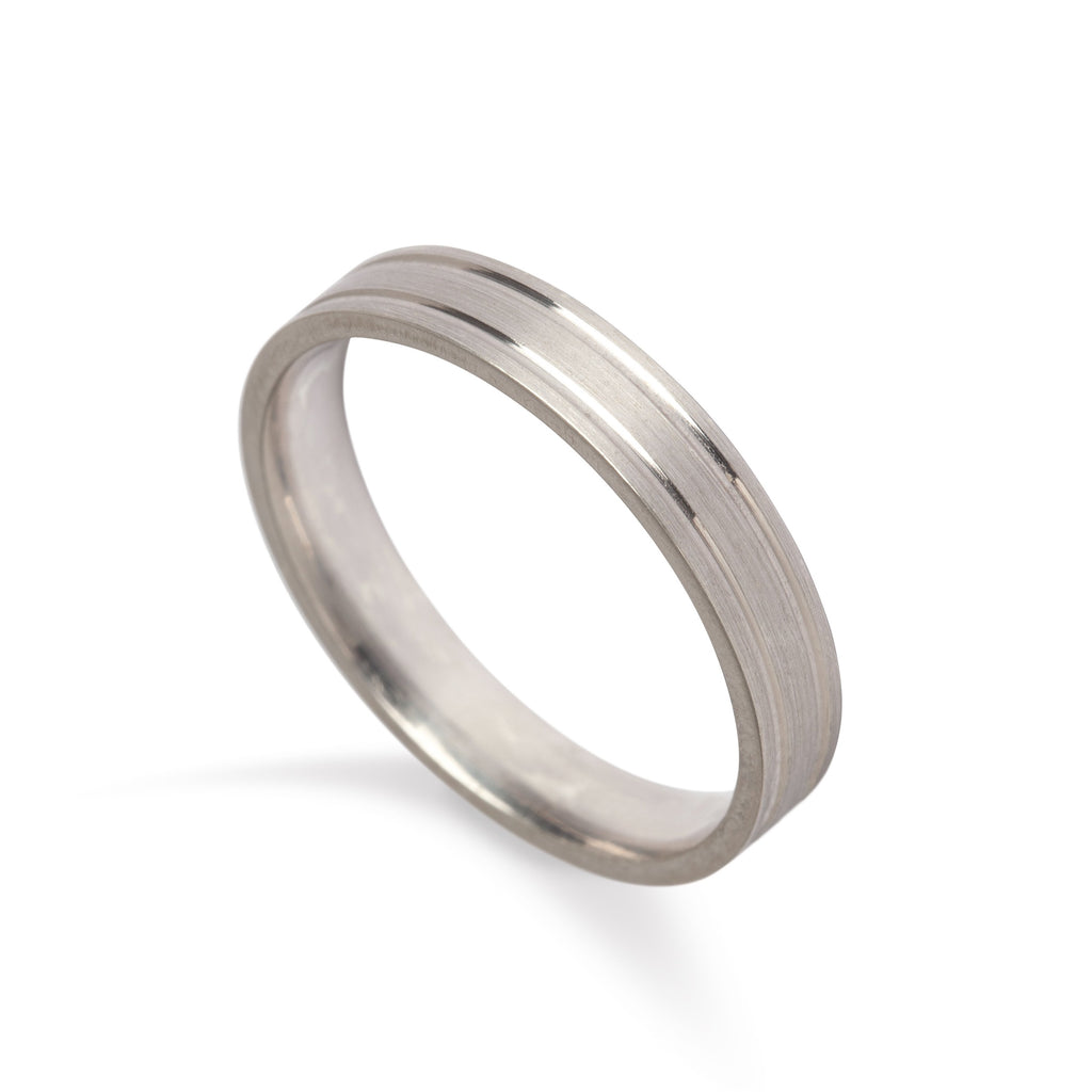 9kt White Gold Men's Wedding Band - MoMuse Jewellery