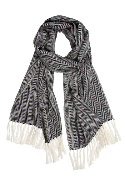 Mucros Weavers Alpaca & Silk Scarf Dark Grey