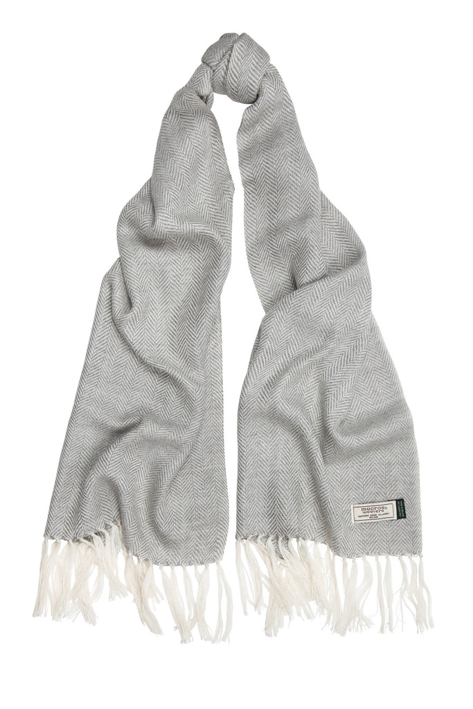 Mucros Weavers Alpaca & Silk Scarf Light Grey