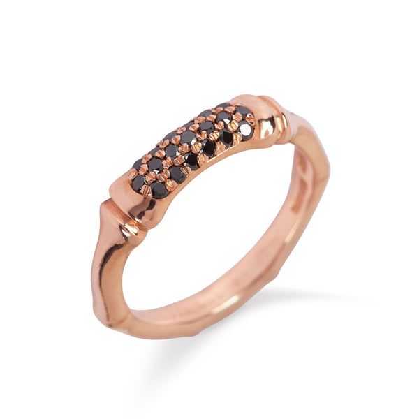 9kt Rose Gold Bamboo Ring with Black Diamonds