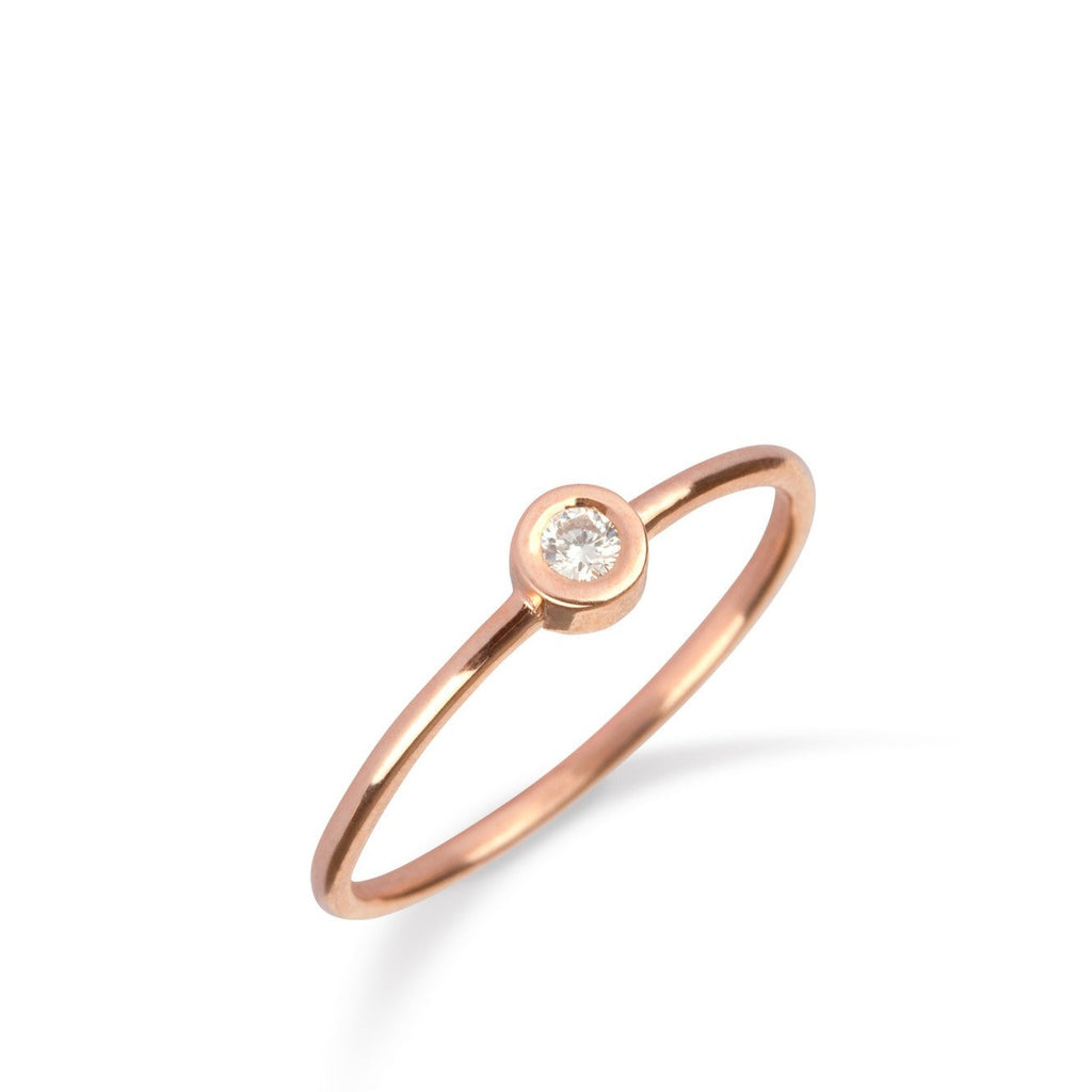 9kt Gold Solitaire Diamond Ring