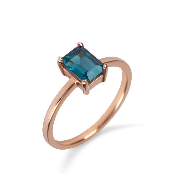 18K Rose Gold Ring with London Blue Topaz