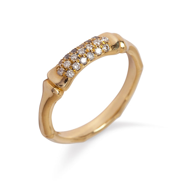 9kt Yellow Gold Bamboo Ring with White Diamonds