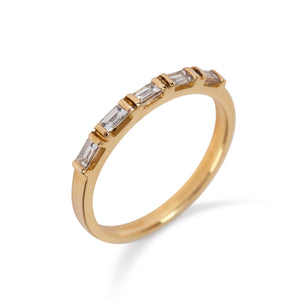 9kt Yellow Gold Ring with Five Baguette Diamonds - MoMuse Jewellery