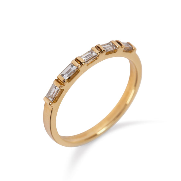 9kt Yellow Gold Ring with Five Baguette Diamonds