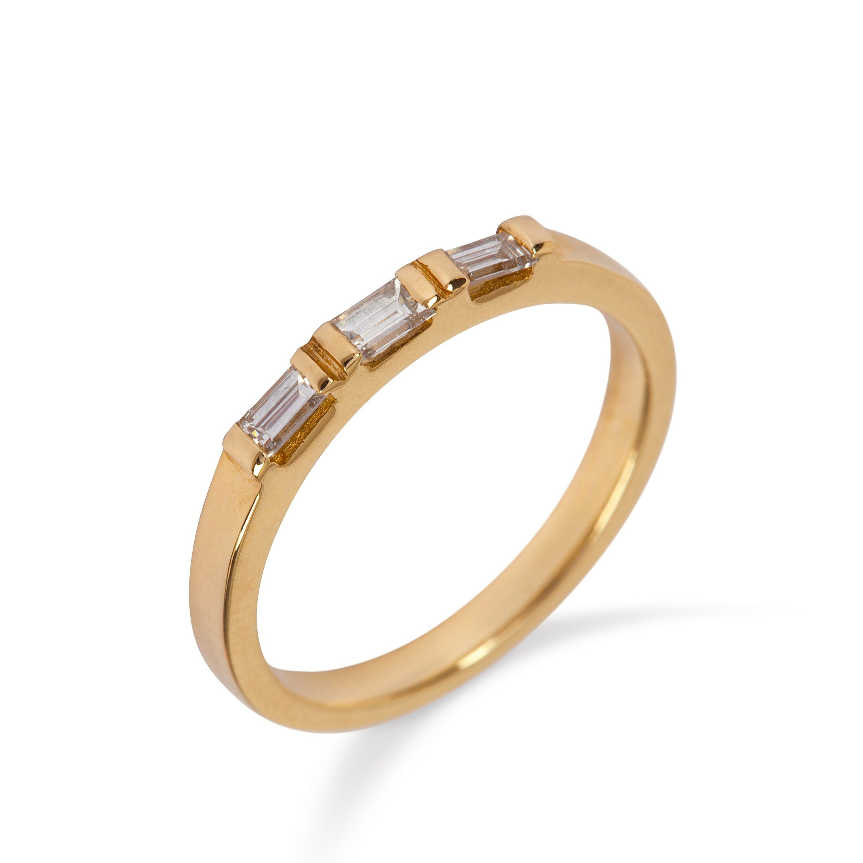 9kt Yellow Gold Ring with Three Baguette Diamonds - MoMuse Jewellery