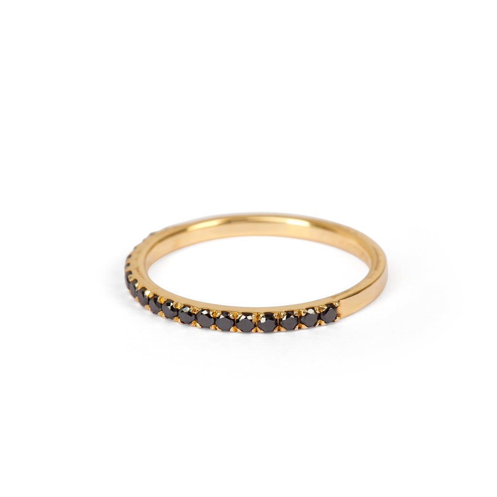 9kt Yellow Gold and Black Diamond Ring - MoMuse Jewellery