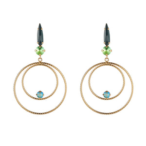 Emerald Green Large Circle Drop Earrings