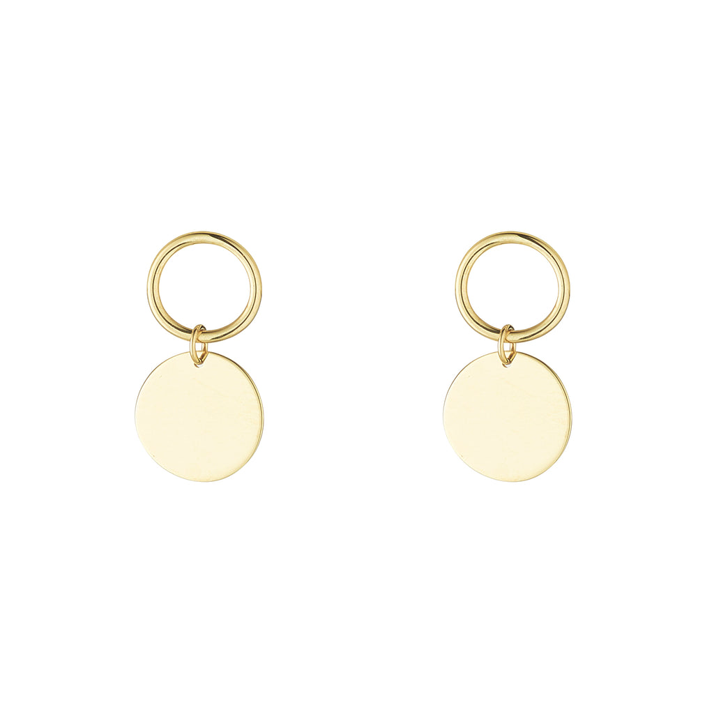 9kt Disc and Circle Earrings