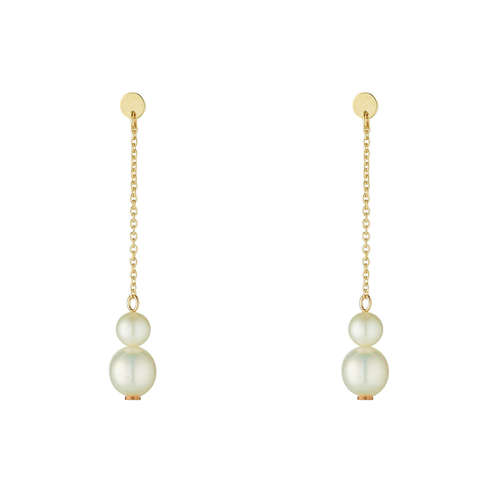 9kt Double Pearl Drop Earrings