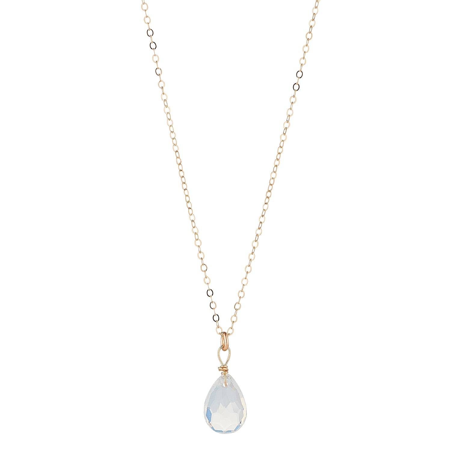 14kt Gold Filled Opaque Swarovski Teardrop Pendant - MoMuse Jewellery