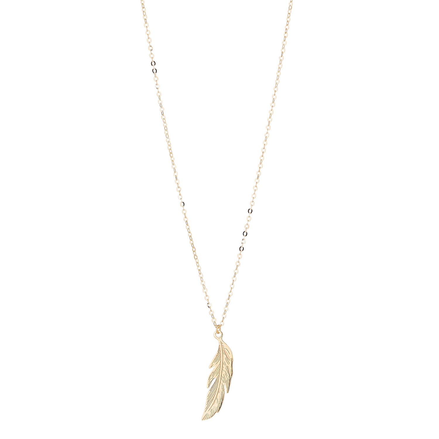 9kt Gold Feather Pendant - MoMuse Jewellery