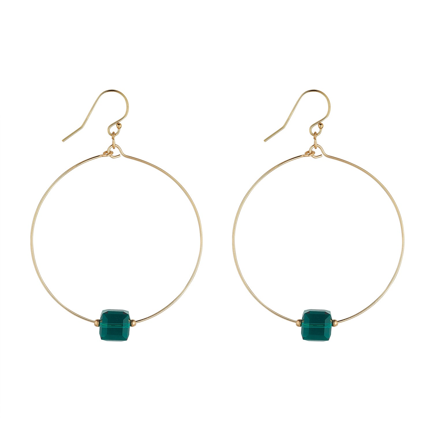 14kt Gold Filled Emerald Green Swarovski Cube Large Hoops