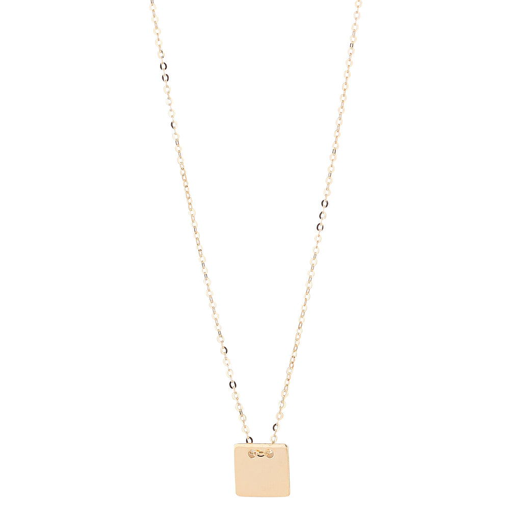 9kt Gold Solid Square Pendant - MoMuse Jewellery