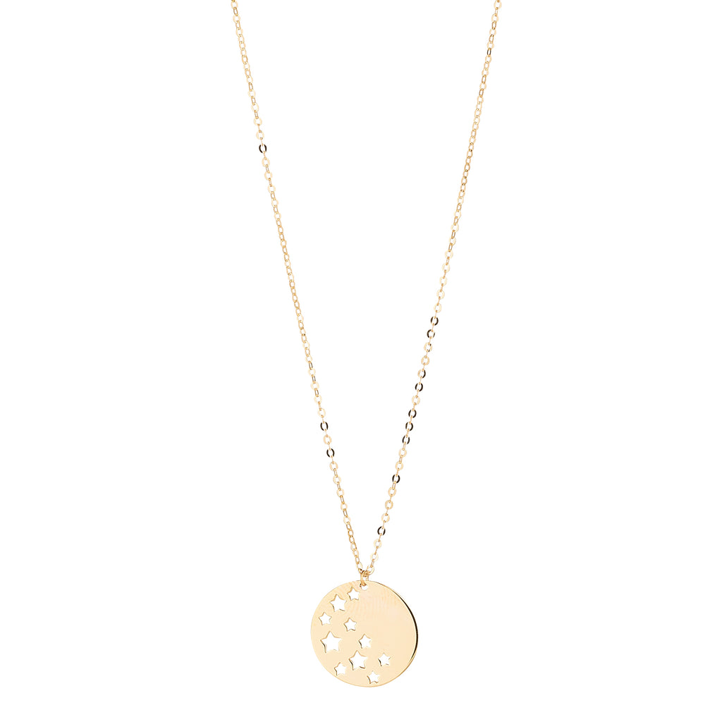 9kt Gold Star Disc Pendant - MoMuse Jewellery
