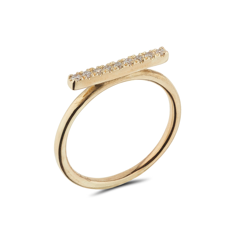 9kt Diamond Gold Bar Ring - MoMuse Jewellery