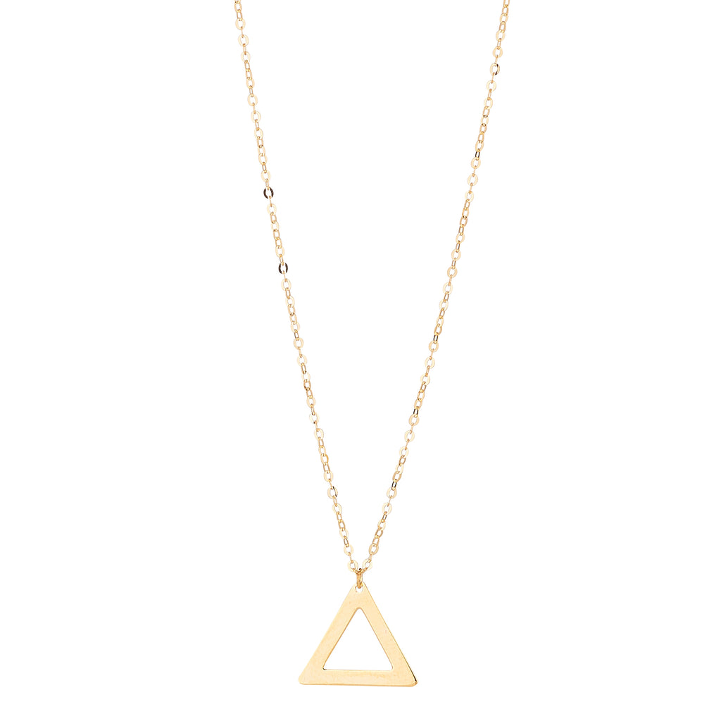 9kt Gold Triangle Cut Out Pendant - MoMuse Jewellery