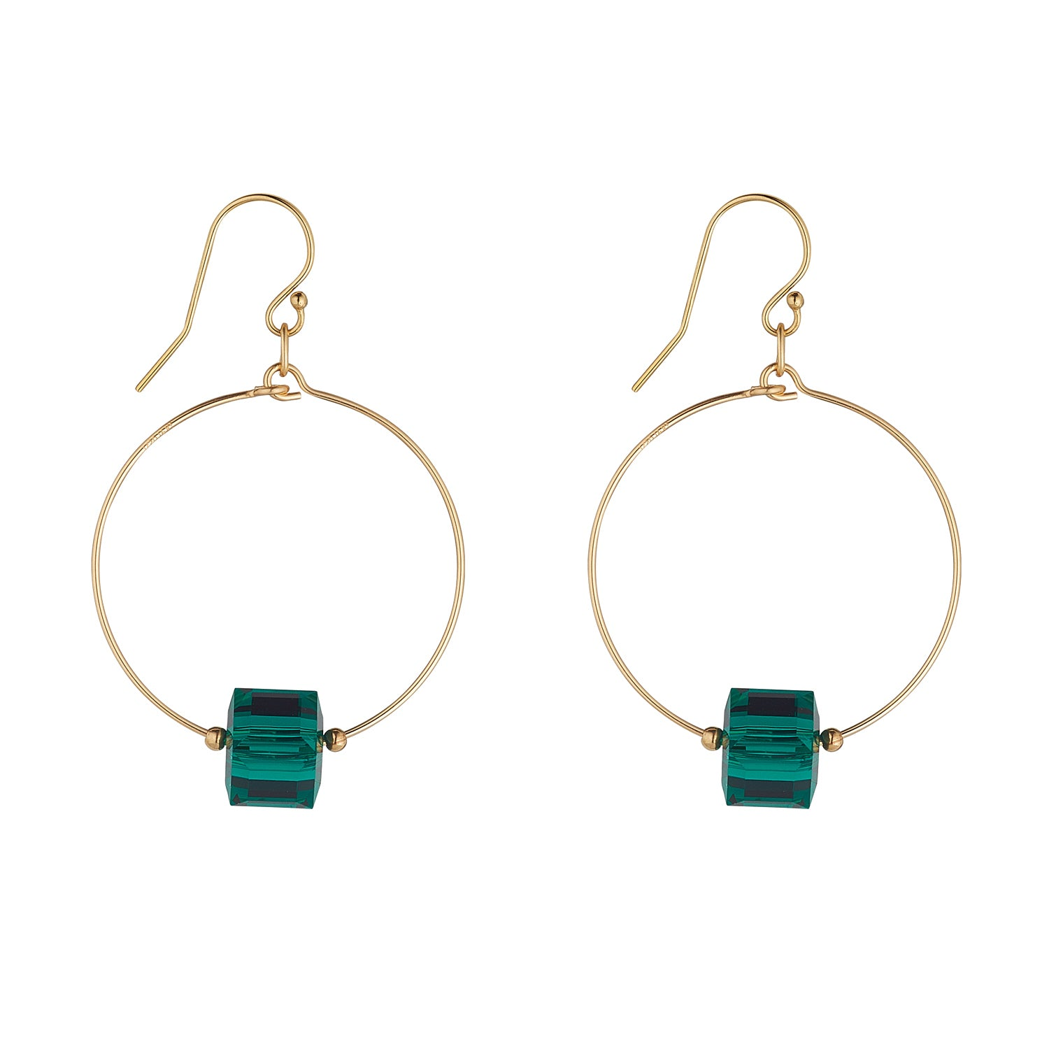 Gold Filled Emerald Green Swarovski Cube Small Hoops
