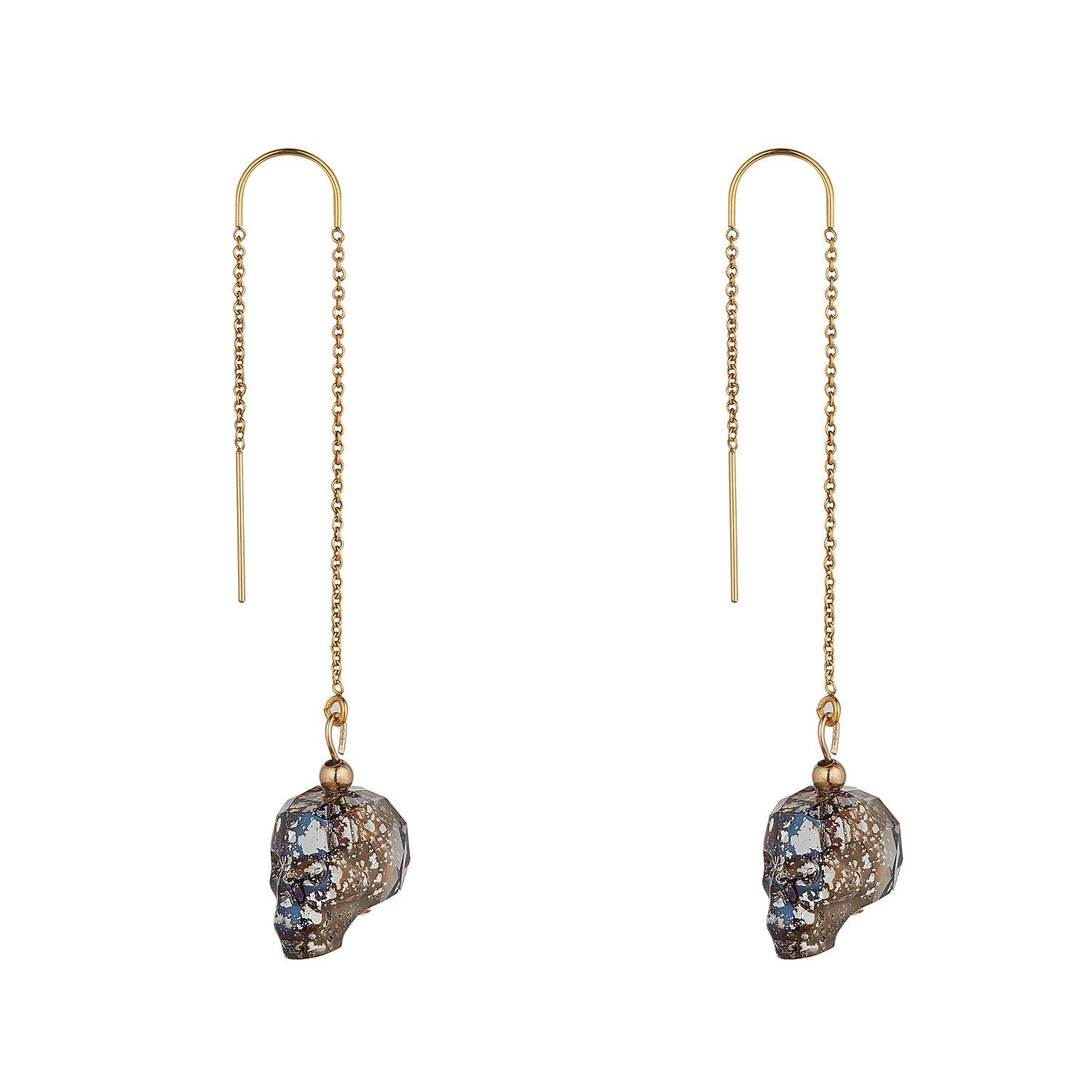 14kt Gold Filled Black Patina Swarovski Skull Threaders - MoMuse Jewellery