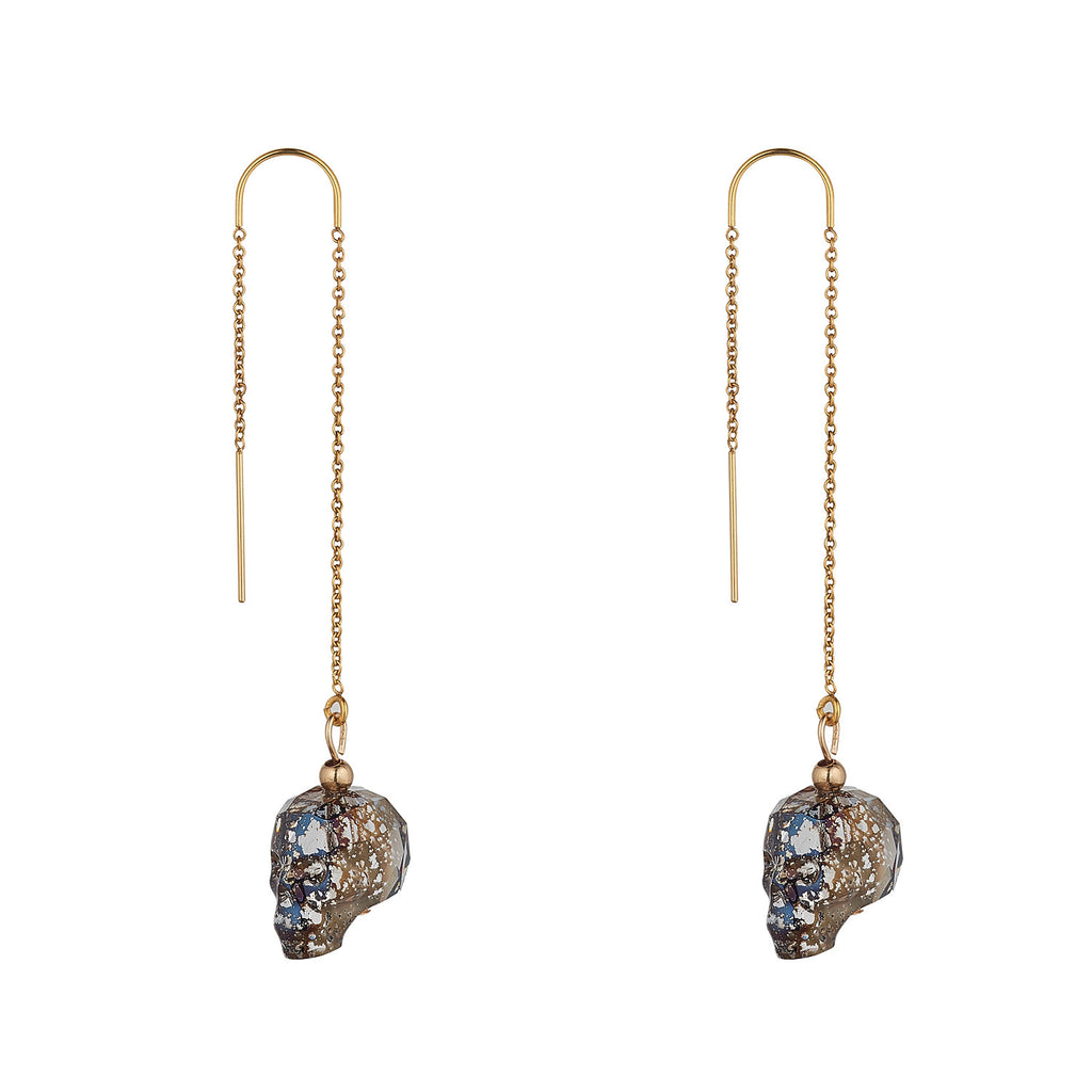 14kt Gold Filled Black Patina Swarovski Skull Threaders