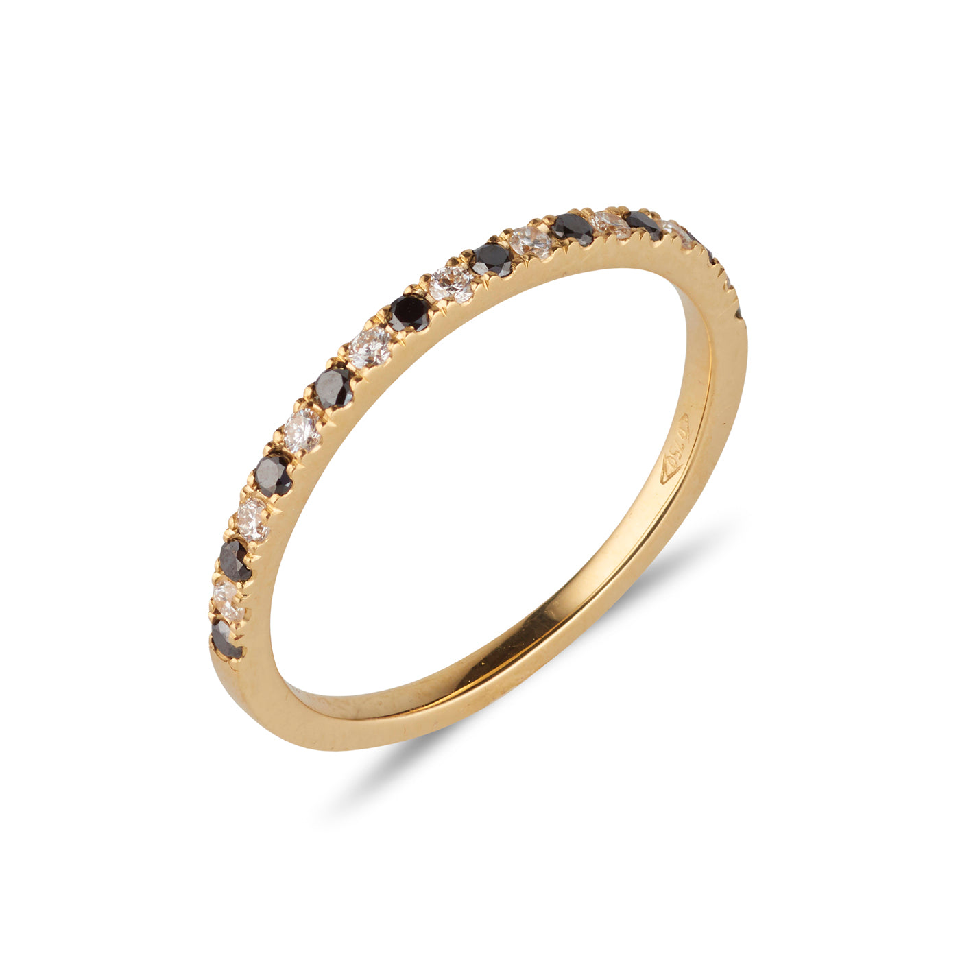 9kt Yellow Gold Band with Black & White Diamonds - MoMuse Jewellery