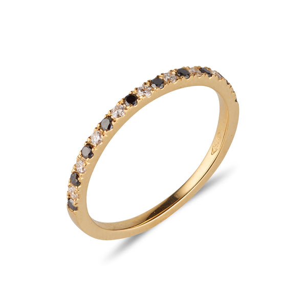 18kt Yellow Gold Band with Black & White Diamonds