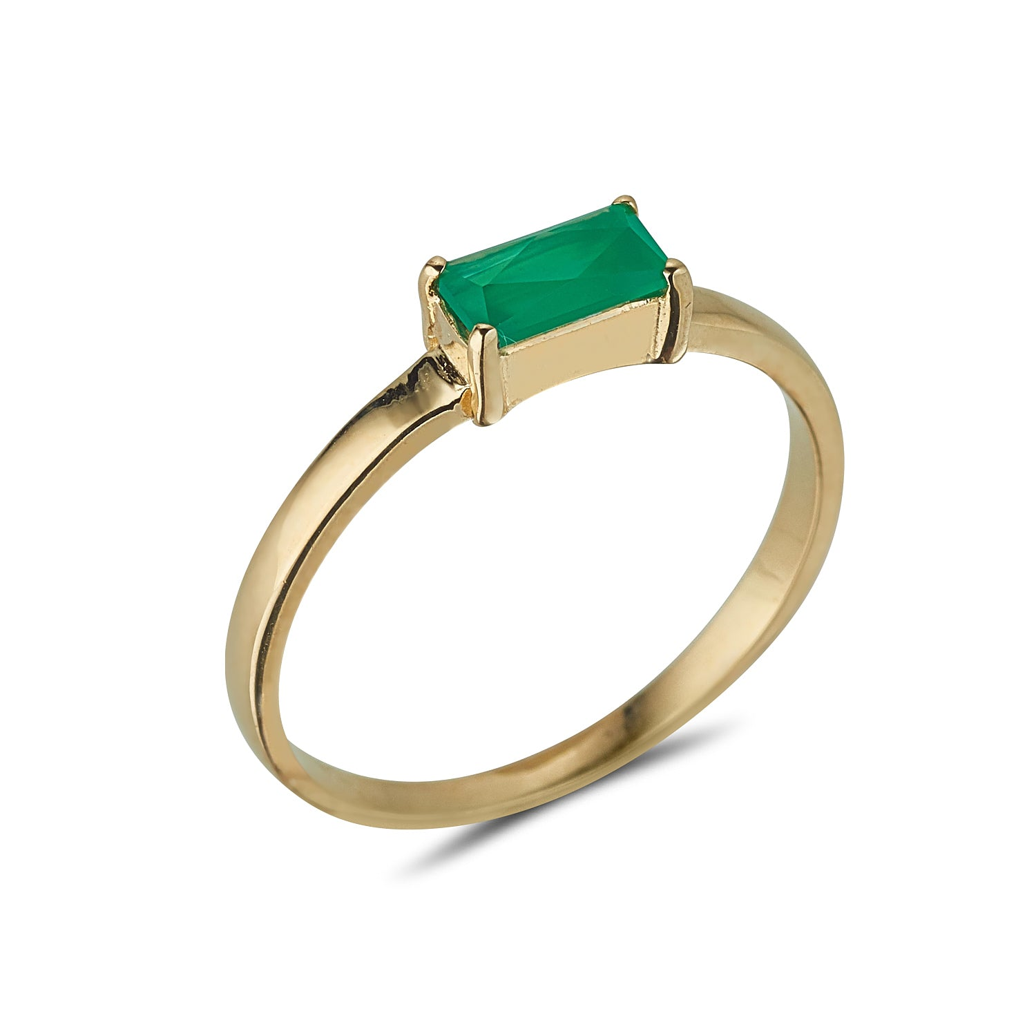 9kt Gold Baguette Green Onyx Ring