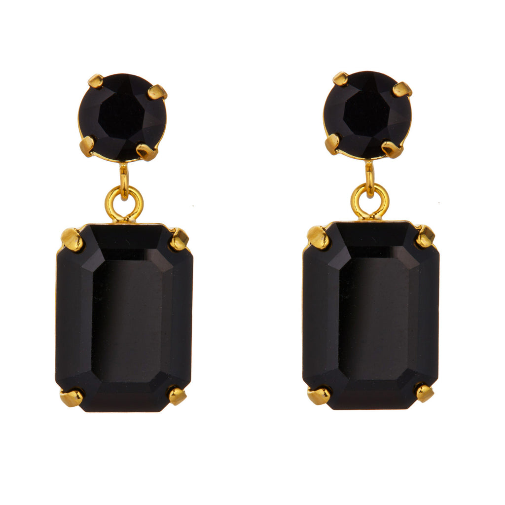 Black Swarovski Mini Slab Earrings by Merle O'Grady