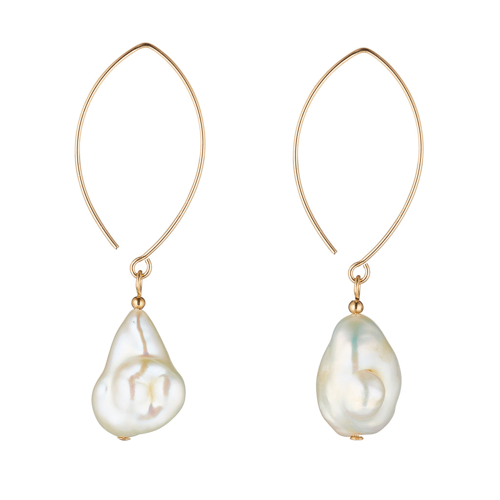14kt Gold Filled Baroque Pearl Oval Open Earrings