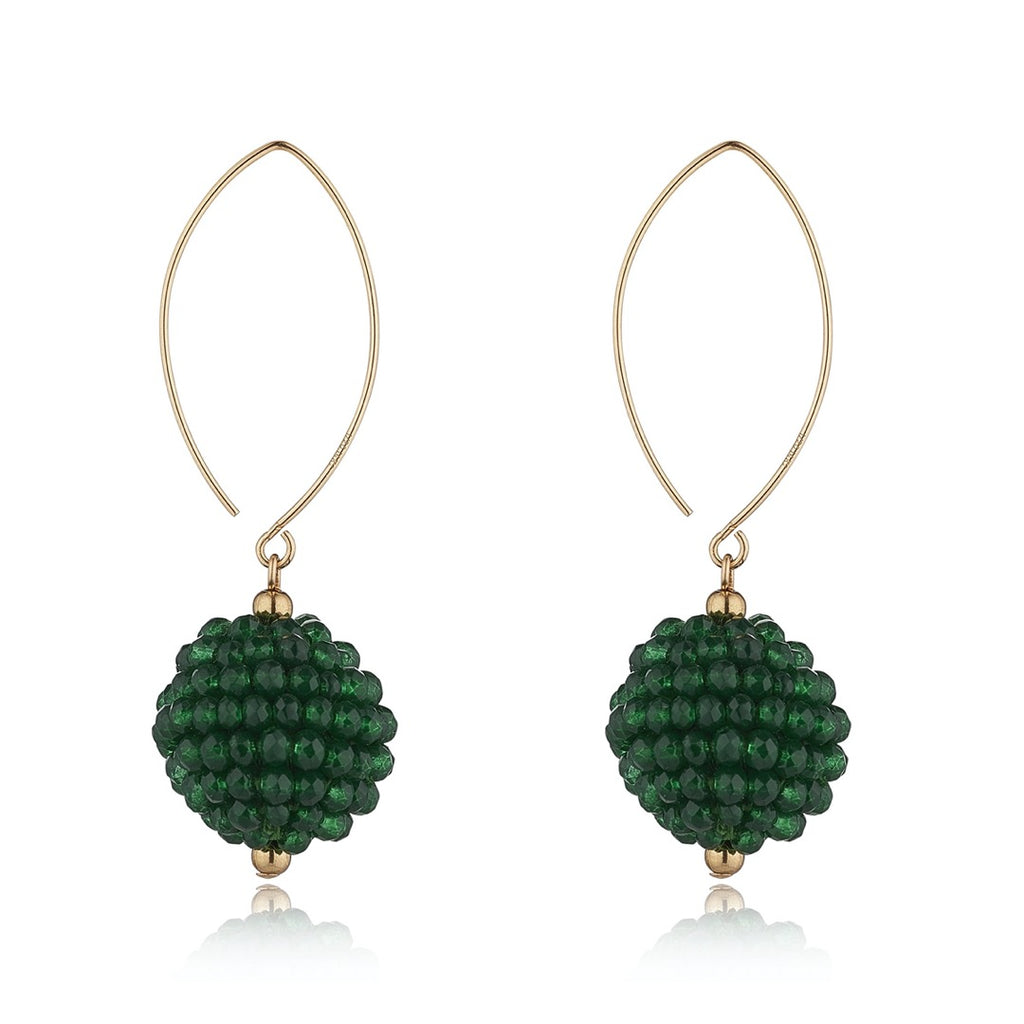 14kt Gold Filled Green Cluster Oval Open Earrings - MoMuse Jewellery