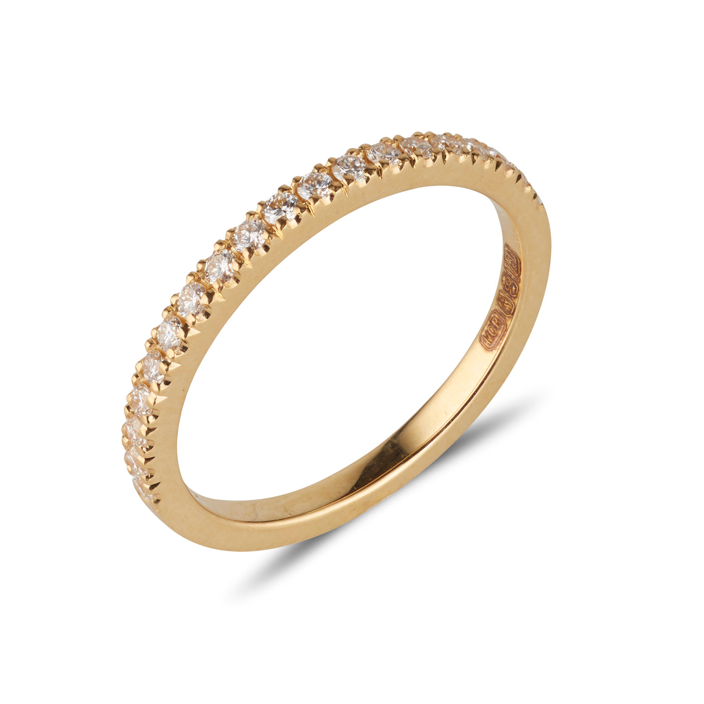 18kt Yellow Gold Band with White Diamonds - MoMuse Jewellery