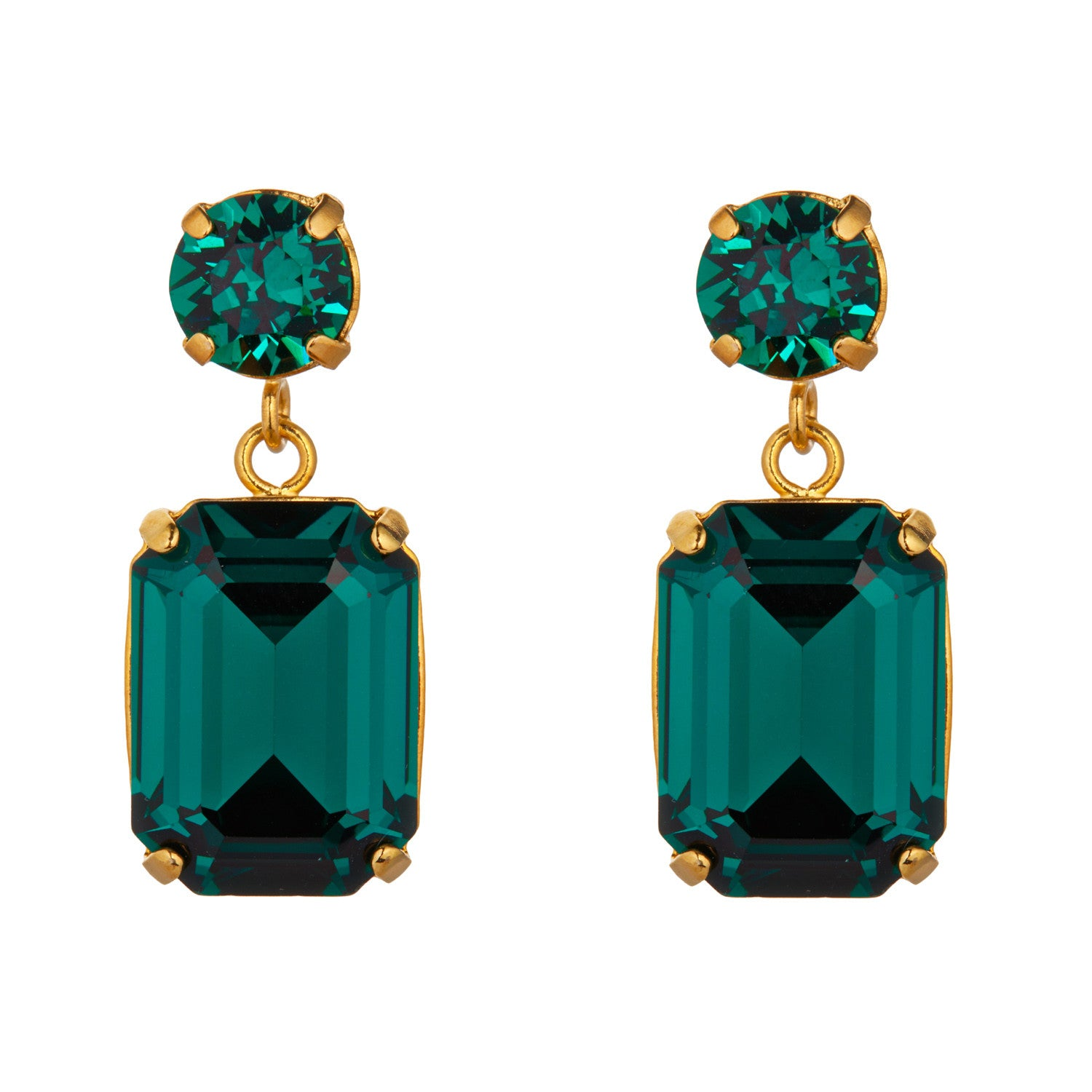 Emerald Swarovski Mini Slab Earrings by Merle O'Grady - MoMuse Jewellery