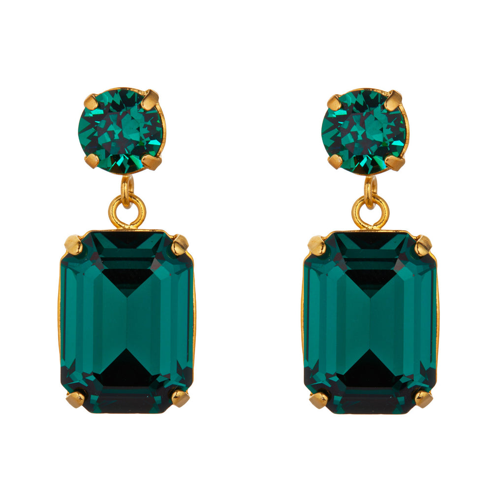 Emerald Swarovski Mini Slab Earrings by Merle O'Grady