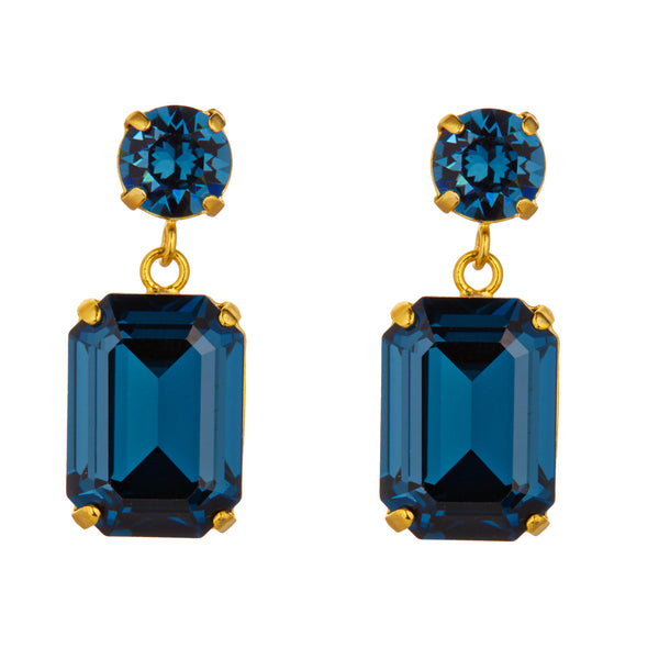 Navy Swarovski Mini Slab Earrings by Merle O'Grady