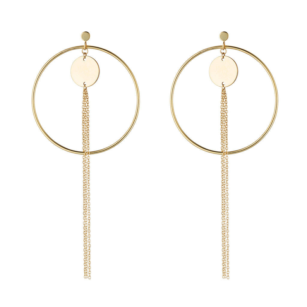 9kt Gold Circle & Tassel Earrings - MoMuse Jewellery