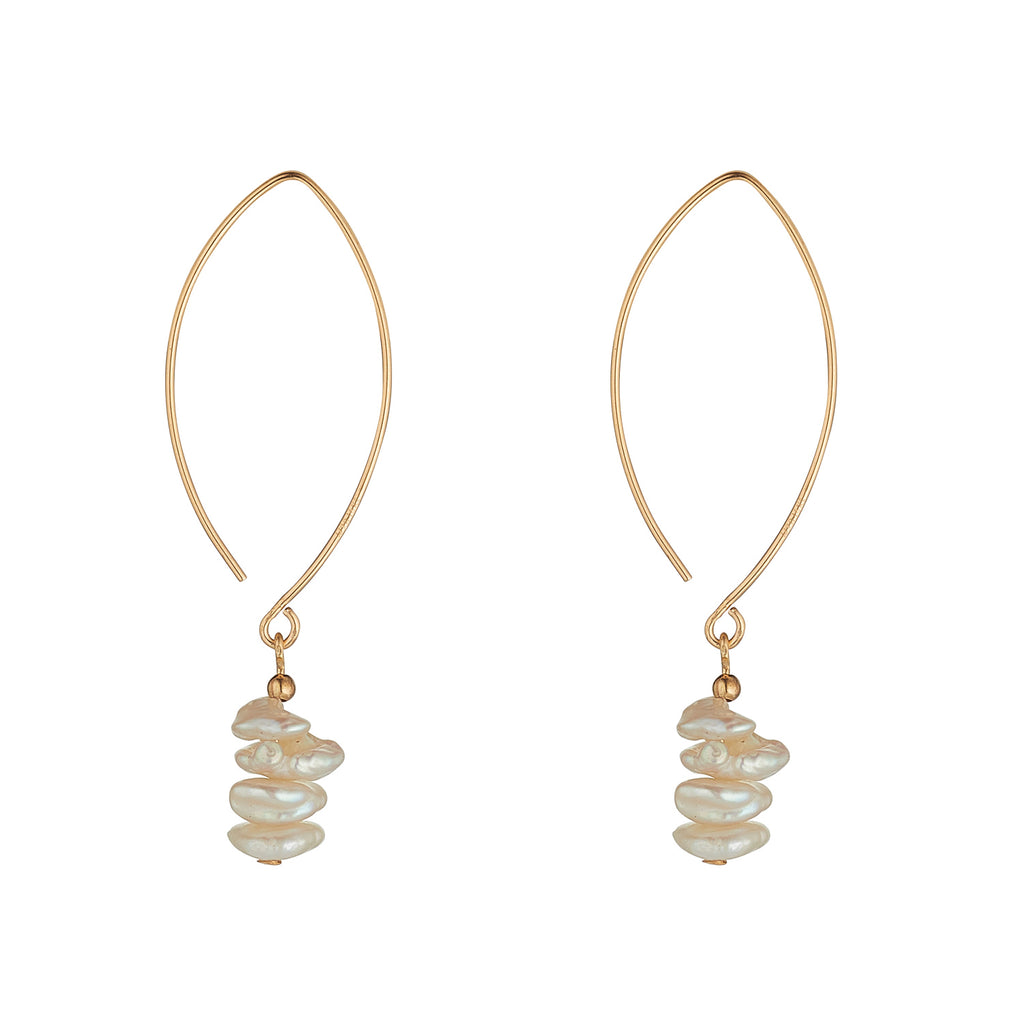 14kt Gold Filled Petite Pearl Threader Earrings - MoMuse Jewellery