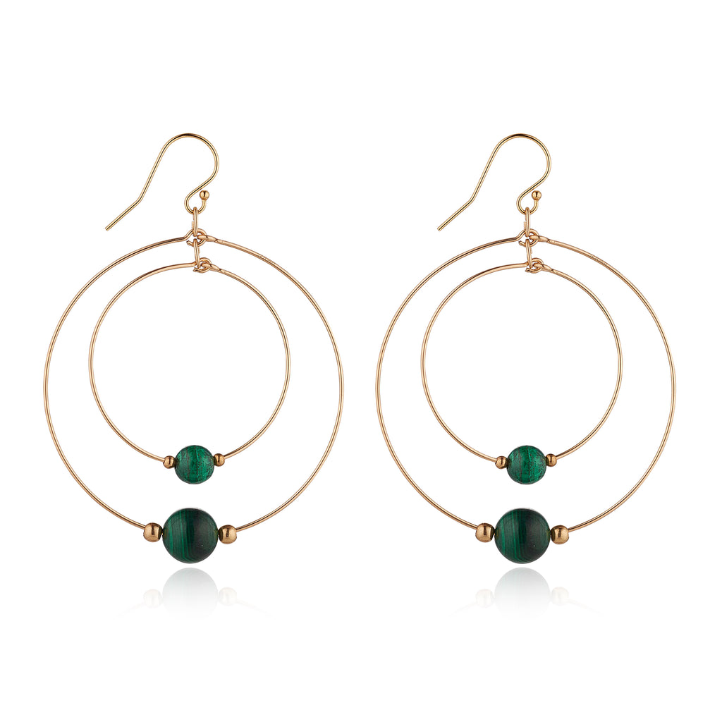 14kt Gold Filled Malachite Double Hoop - MoMuse Jewellery