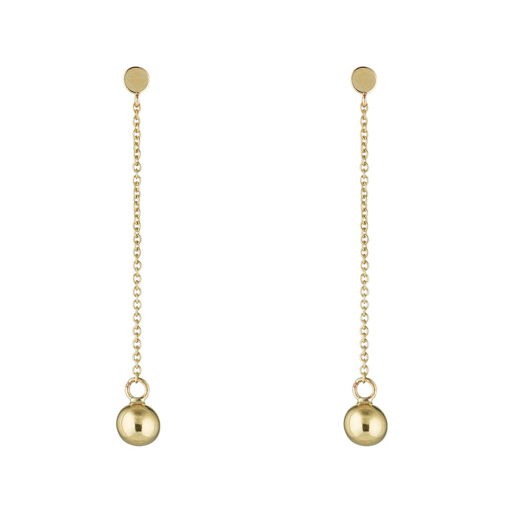 9kt Gold Ball Drop Earrings with Post - MoMuse Jewellery
