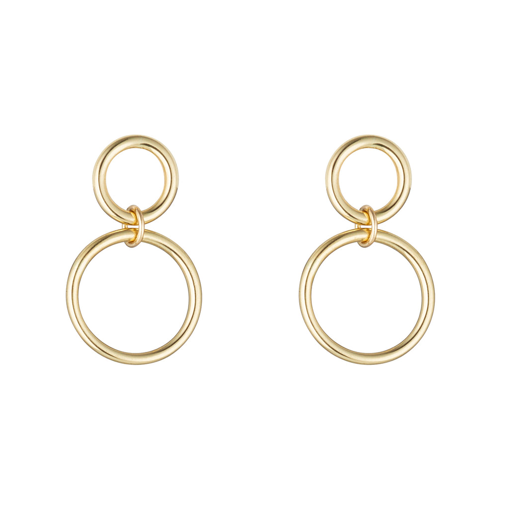 9kt Gold Double Circle Earrings with Post - MoMuse Jewellery