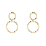 9kt Gold Double Circle Earrings with Post