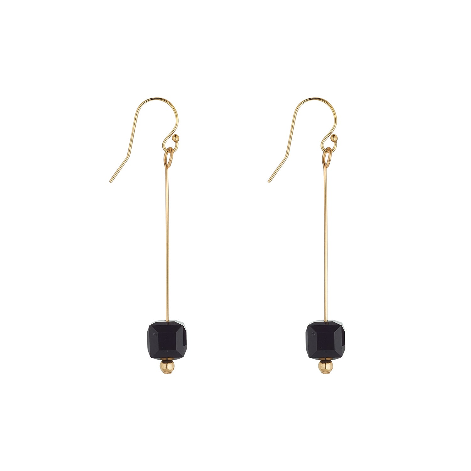 14kt Gold Filled Black Swarovski Cube Pins