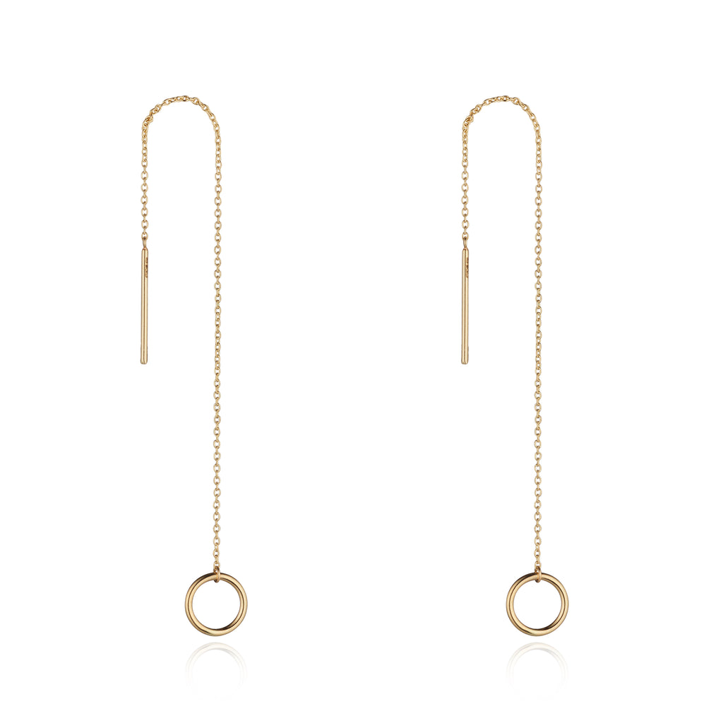 9kt Gold Circle Threader Earring - MoMuse Jewellery