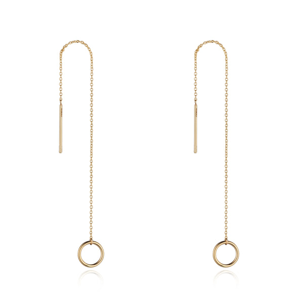 9kt Gold Circle Threader Earring