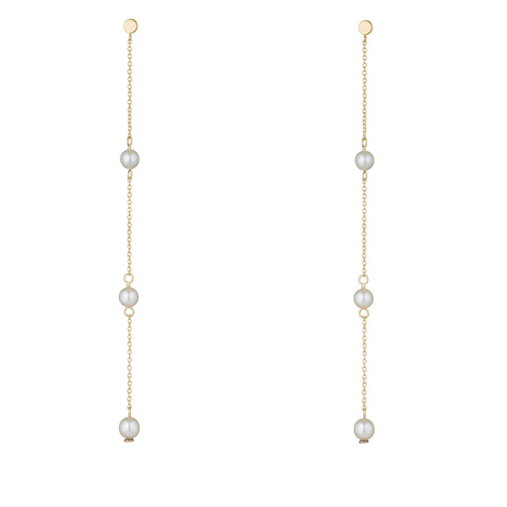 9kt Gold Long Pearl Chain Earrings - MoMuse Jewellery