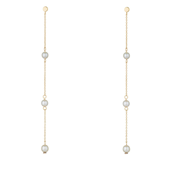 9kt Gold Long Pearl Chain Earrings